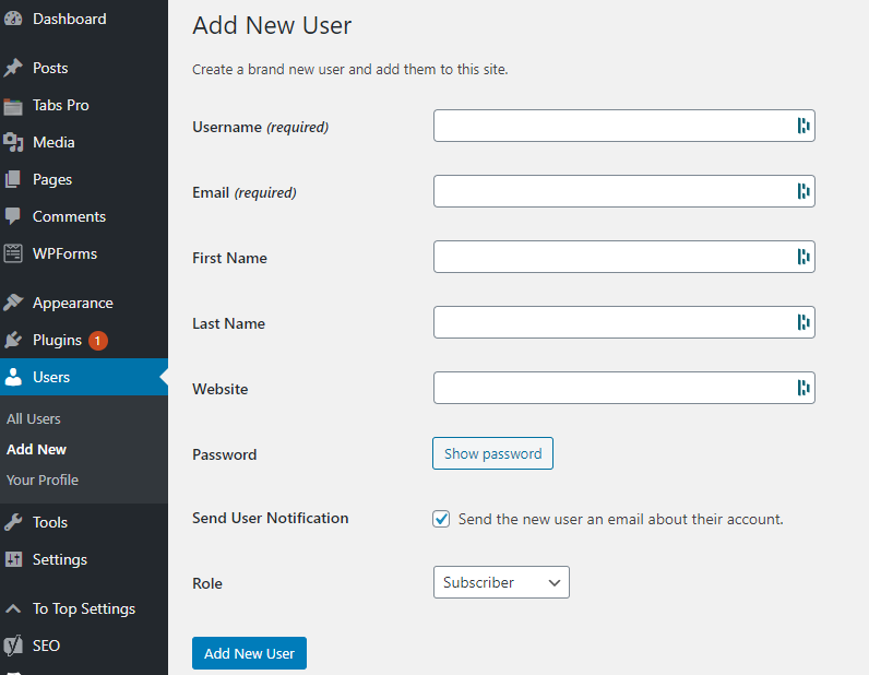 Screenshot of a WordPress Dashboard on the Add New User Screen, showing how to add a WordPress user.