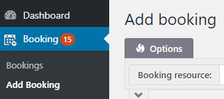 Screenshot of a WordPress dashboard with the Add new Booking link.