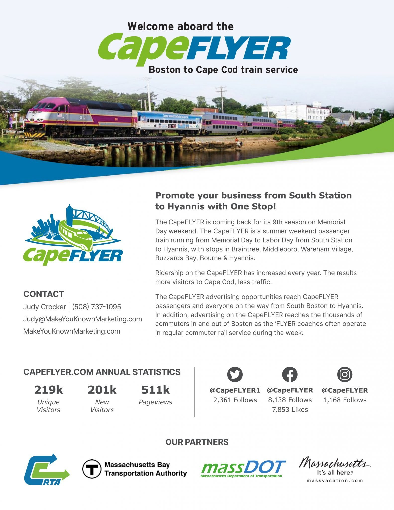 Promote your Business from South Station (Boston) to Hyannis with CapeFLYER