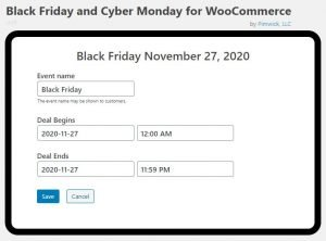 Screenshot of the schedule for creating Black Friday or Cyber Monday Deals by Devadigm