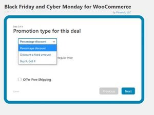 Choose the type of promotion for a Black Friday or Cyber Monday Promo in WooCommerce on a WordPress website. Dollar amount discount, percentage discount, or buy one get one (BOGO).