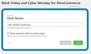 Dashboard to Create the name for a Black Friday or Cyber Monday Sale in WooCommerce on a WordPress website
