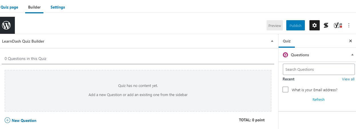 Screen shot 3 of the question setup from the LearnDash LMS WordPress Plugin.