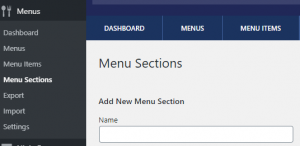 Screen shot to add a Menu Section with the Food and Drink Menu Plugin