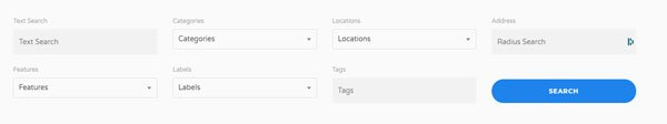 Screenshot of a directory Search box example from the Listdom WordPress Plugin
