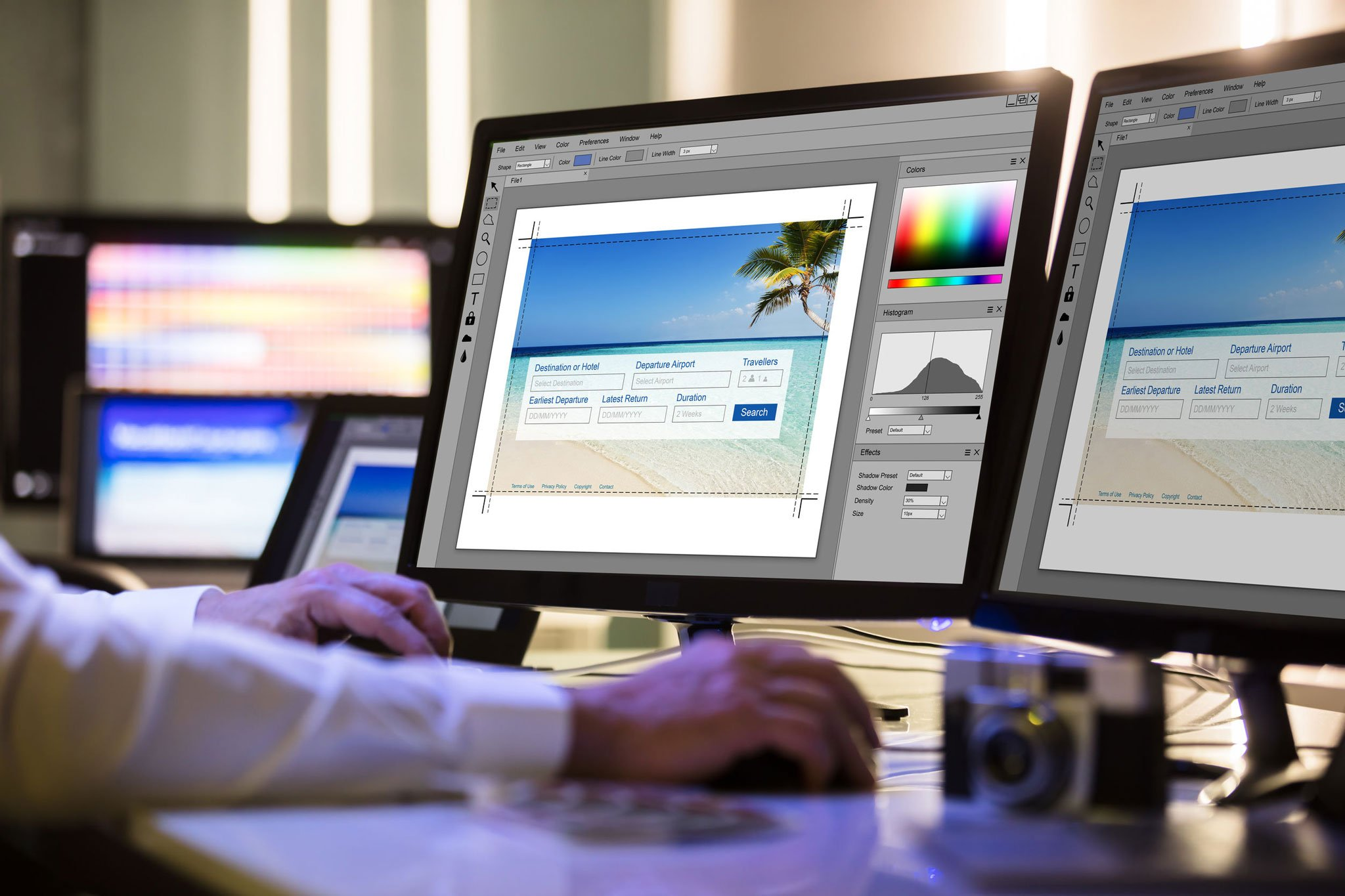 Picture of a graphic designer working on image optimization