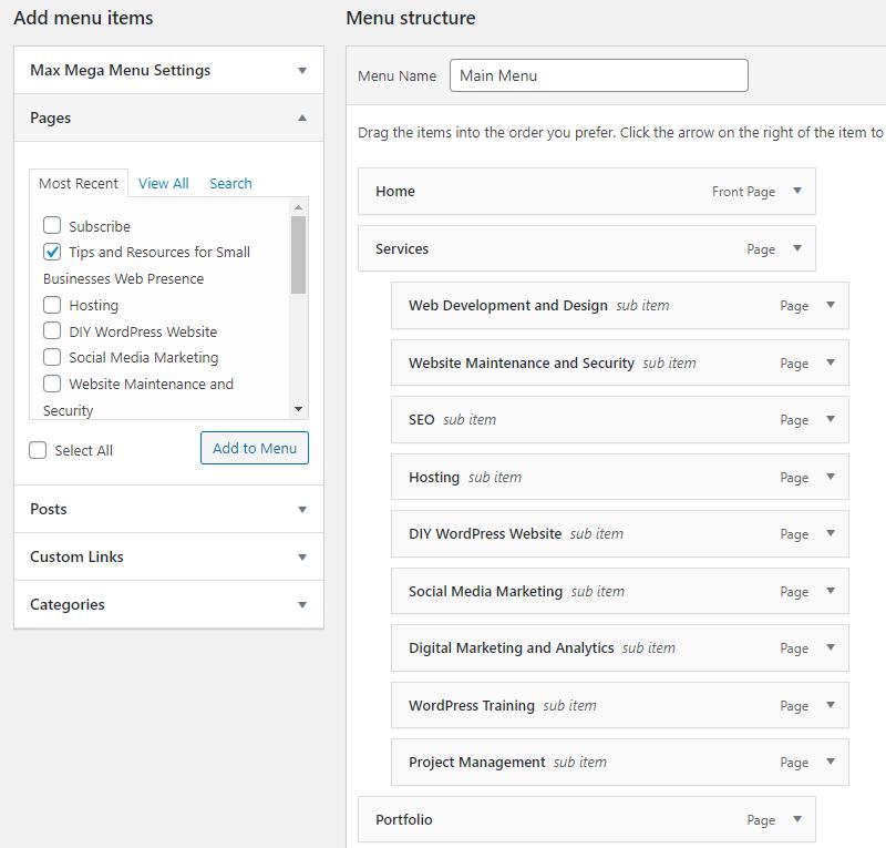 Screen shot of the menu structure of a WordPress website