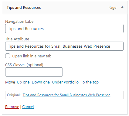 Screen shot of how to have a link open in a new tab on a WordPress website
