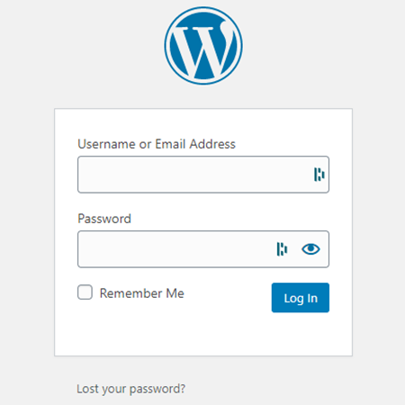 "Screenshot of a WordPress website login screen. At the bottom is a ""lost your password?"" link to reset the password for a WordPress user."